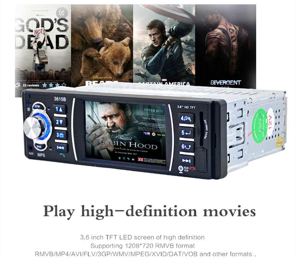 Аудио плеър за кола  AT 3615B  MP5, Bluetooth, 3.6 инча + КАМЕРА