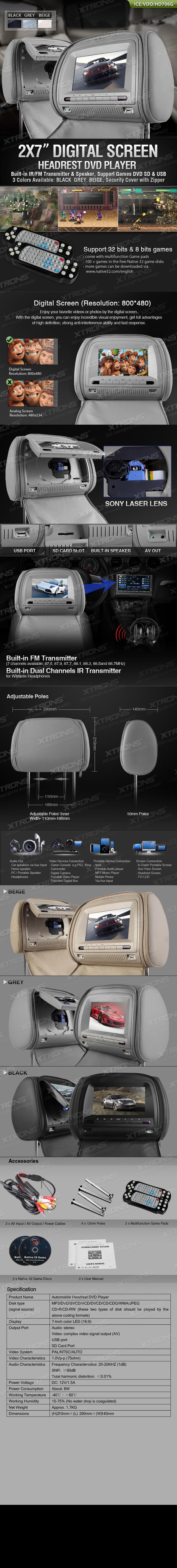 Монитори за подглавници, 7 инча + слушалки