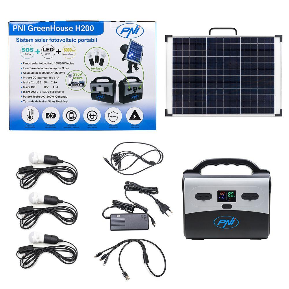 Слънчева фотоволтаична система GreenHouse H200, литиево-йонна батерия, 3 крушки, USB / 12V / 230V / 200W, портативен, слънчев панел